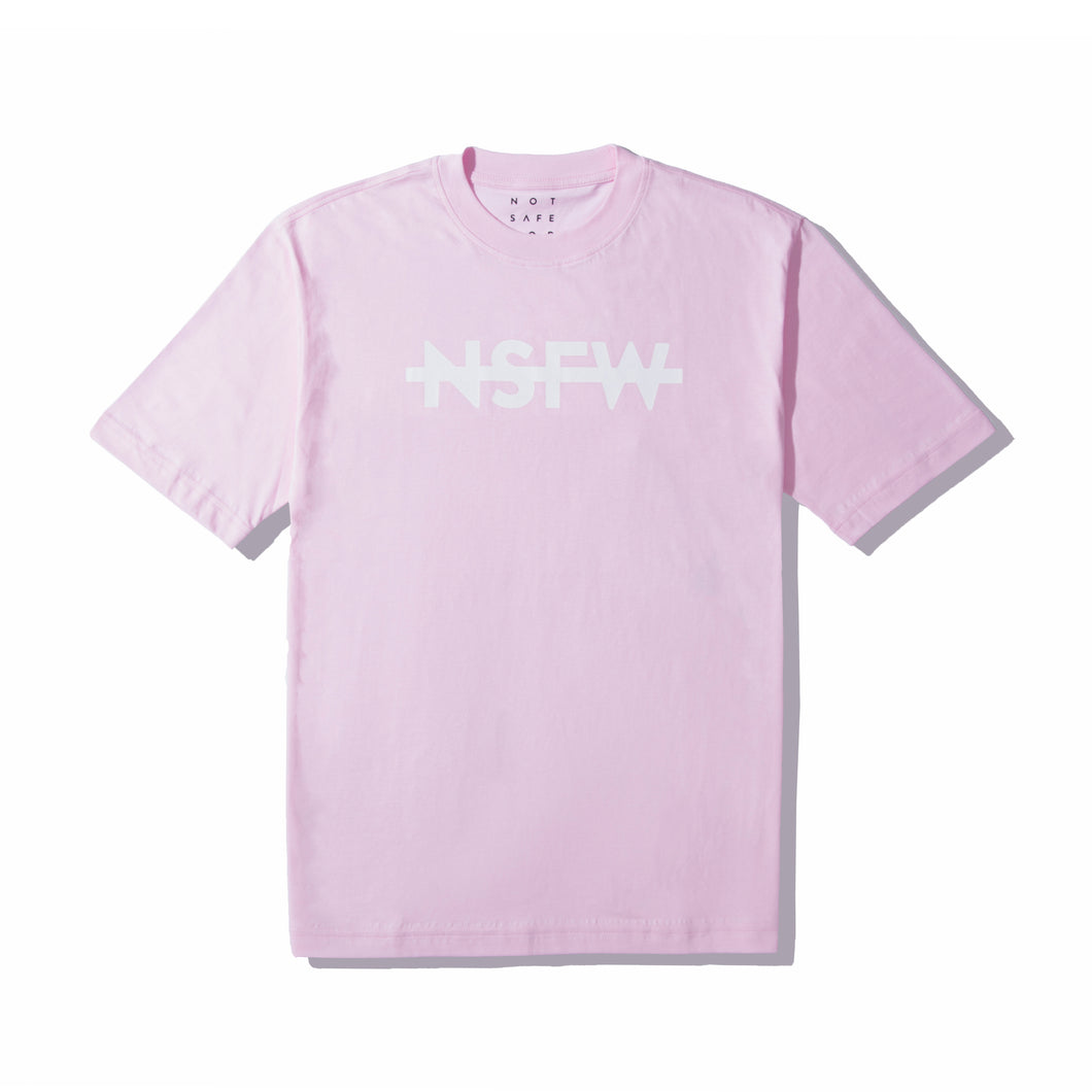 Reversed white NSFW logo in pink tee by NSFW Clothing.