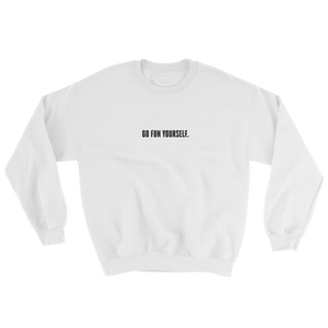 Go Fun Yourself Innocent white sweater from 9GAG Shop streetwear