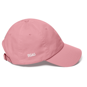 pink dad hat with 9GAG logo embroidered on the right side