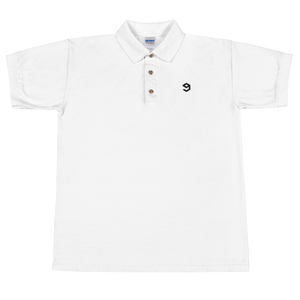 9GAG white polo tee with embroidered logo in black