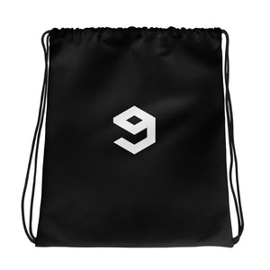 9GAG drawstring polyester bag & strings in black color with white logo print both sides