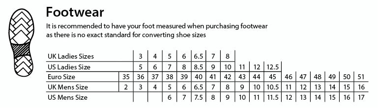 Footwear sizing guide
