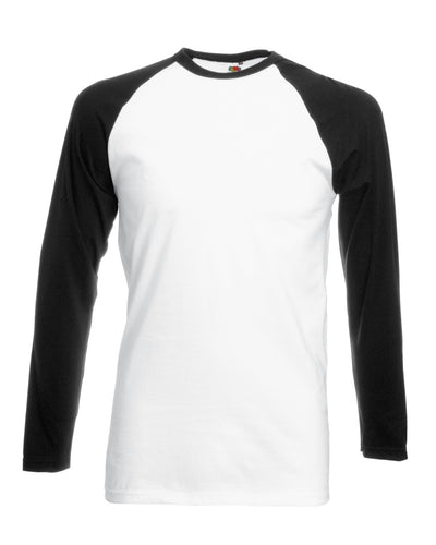 61028 Fruit Of The Loom Men's Valueweight Long Sleeve Baseball T-Shirt