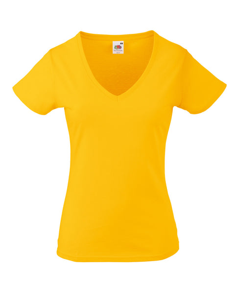 61398 Fruit Of The Loom Lady-Fit Valueweight V-Neck T-Shirt