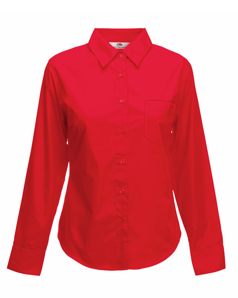 65012 Fruit Of The Loom Lady-Fit Long Sleeve Poplin Shirt