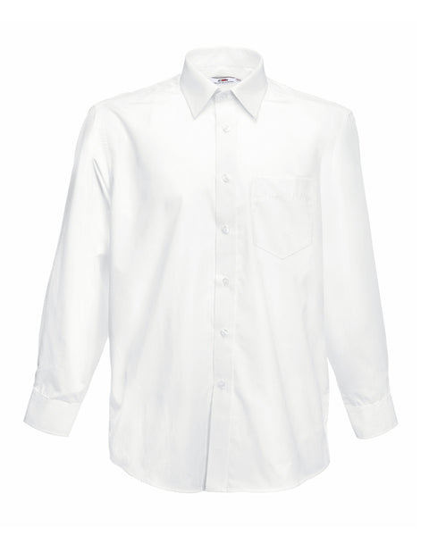 65118 Fruit Of The Loom Men's Long Sleeve Poplin Shirt