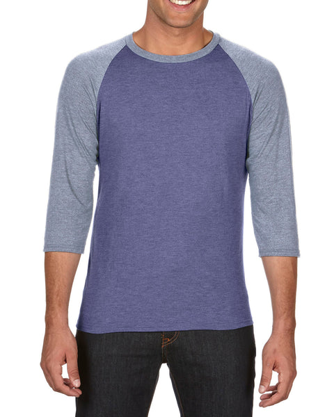 6755 Anvil Men's Tri-Blend 3/4 Sleeve Raglan Tee