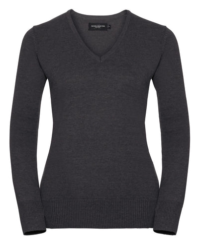710F Russell Collection Ladies' V-Neck Knitted Pullover