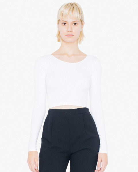 8379W American Apparel Women's Cotton Spandex Long Sleeve Crop Top