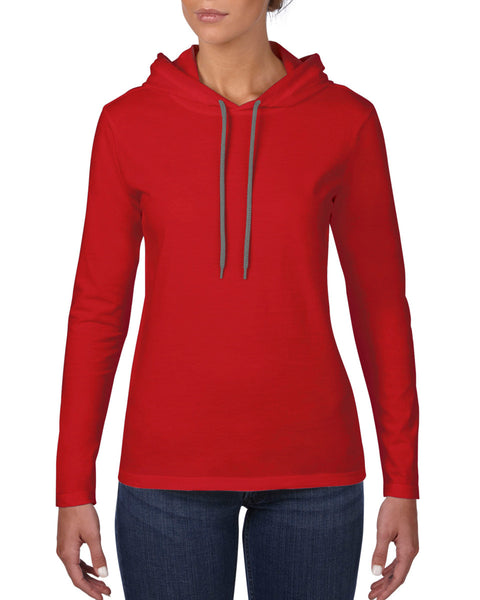 887L Anvil Women's Lightweight Long Sleeve Hooded Tee