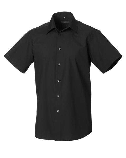 925M Russell Collection Men's Short Sleeve Polycotton Easy Care Tailored Poplin Shirt