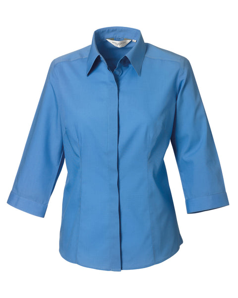 926F Russell Collection Ladies' 3/4 Sleeve Polycotton Easy Care Fitted Poplin Shirt