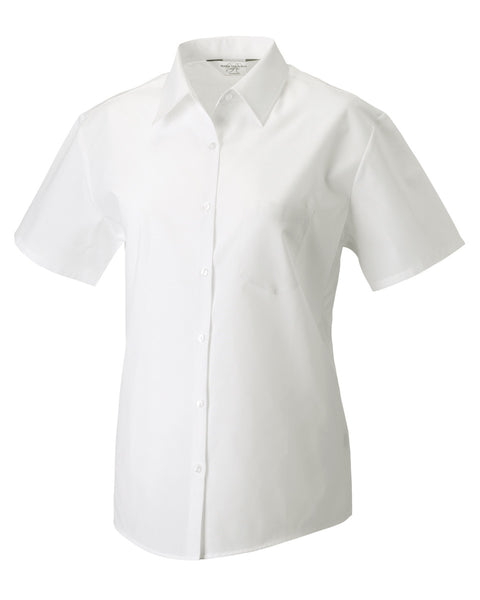 935F Russell Collection Ladies' Short Sleeve Polycotton Easy Care Poplin Shirt