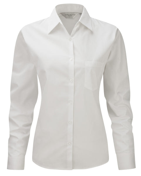 936F Russell Collection Ladies' Long Sleeve Pure Cotton Easy Care Poplin Shirt