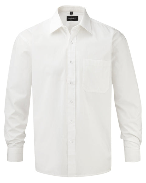 936M Russell Collection Men's Long Sleeve Pure Cotton Easy Care Poplin Shirt