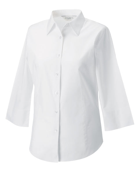946F Russell Collection Ladies' 3/4 Sleeve Easy Care Fitted Shirt