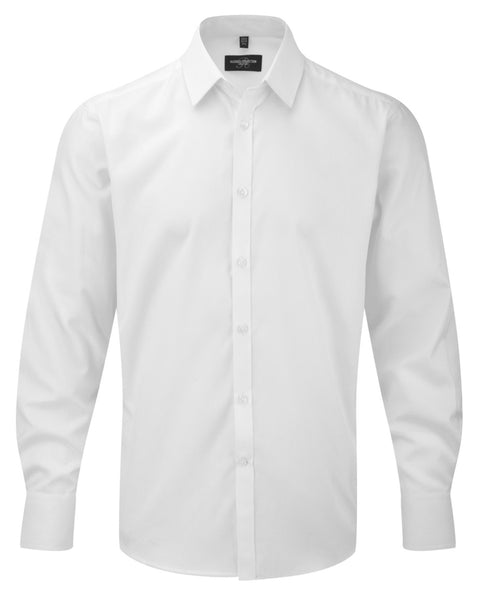 962M Russell Collection Men's Long Sleeve Herringbone Shirt
