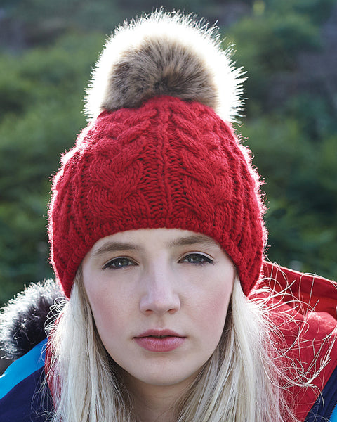 B410 Beechfield  Fur Pop Pom Cable Beanie