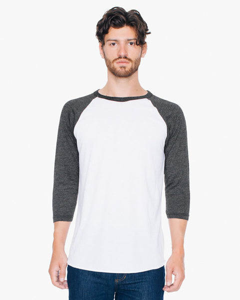 BB453W American Apparel Unisex Poly-Cotton 3/4 Sleeve Raglan Tee