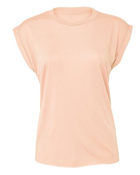 BE8804 Bella Women's Flowy Muscle Tee with Rolled Cuff
