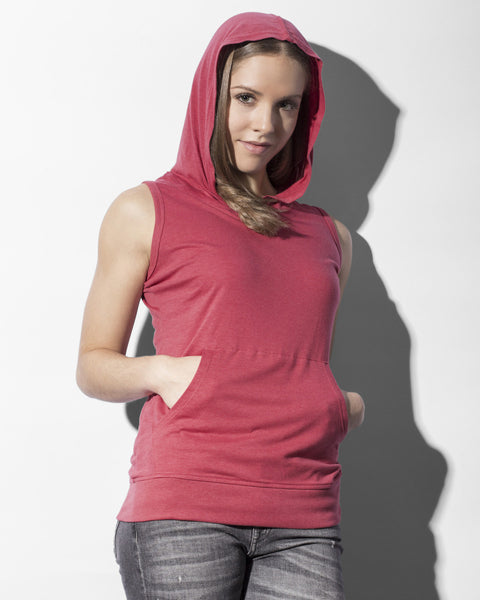 CECILIA142 Nakedshirt Cecilia Women's Sleeveless Hooded T-shirt