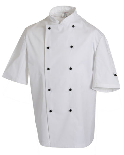 DD20S Dennys Removable Stud Lightweight Short Sleeve Chef's Jacket