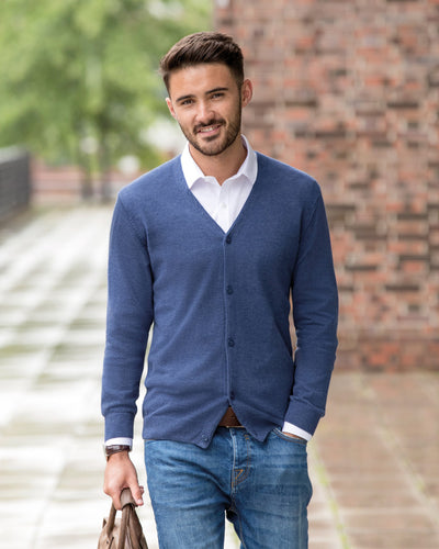 R715M Russell Collection Men's V-Neck Knitted Cardigan