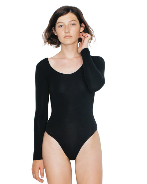 RSA8357W American Apparel Women's Cotton Spandex Long Sleeve Double U-Neck Bodysuit