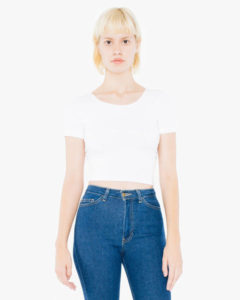 RSA8380W American Apparel Women's Cotton Spandex Short Sleeve Crop Top