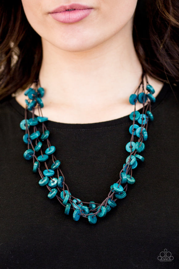 Paparazzi Hoppin Honolulu - Blue - Wooden Discs Necklace and matching Earrings - Lauren's Bling $5.00 Paparazzi Jewelry Boutique