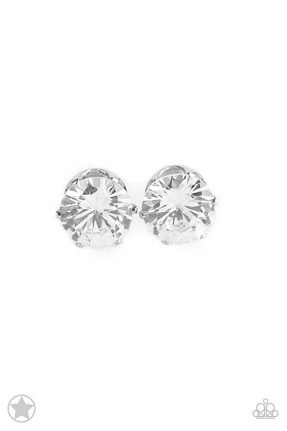 Paparazzi Just In TIMELESS - White Rhinestone - Silver Blockbuster Exclusive - Earrings