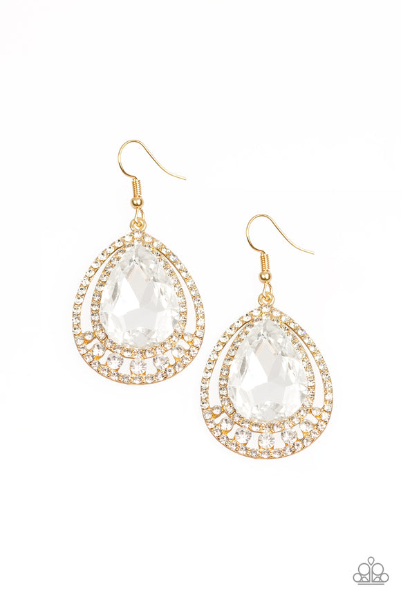 Paparazzi All Rise For Her Majesty - Gold - White Teardrop Gem - Earrings - 2019 Convention Exclusive