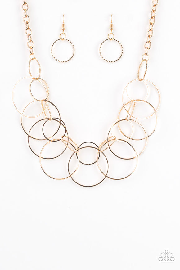 Paparazzi Circa de Couture - Gold - Hoops - Necklace and matching Earrings