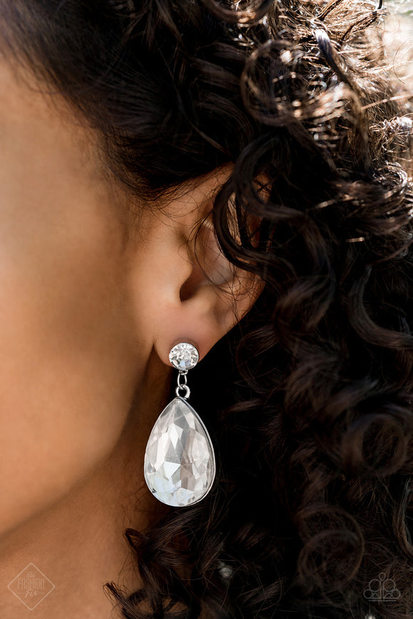 Paparazzi Debutante Dazzle - White Rhinestones - Teardrop Earrings - Fashion Fix Exclusive October 2019 - Lauren's Bling $5.00 Paparazzi Jewelry Boutique