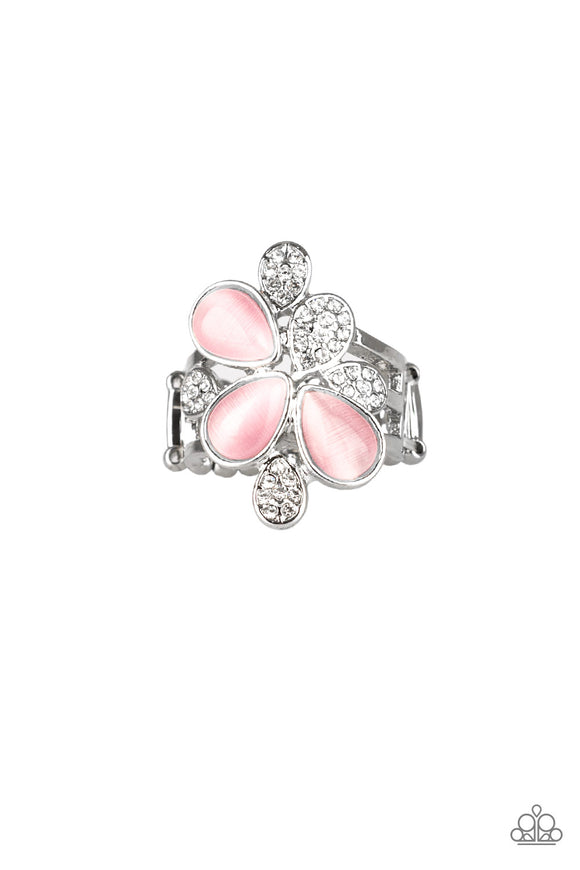 Paparazzi Diamond Daises - Pink Teardrop Moonstones - White Rhinestone Ring