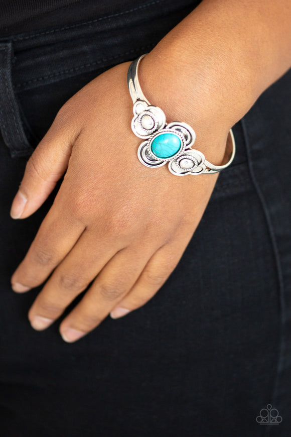 Paparazzi Dream COWGIRL - Blue Turquoise Stone - Silver Cuff Bracelet - Lauren's Bling $5.00 Paparazzi Jewelry Boutique