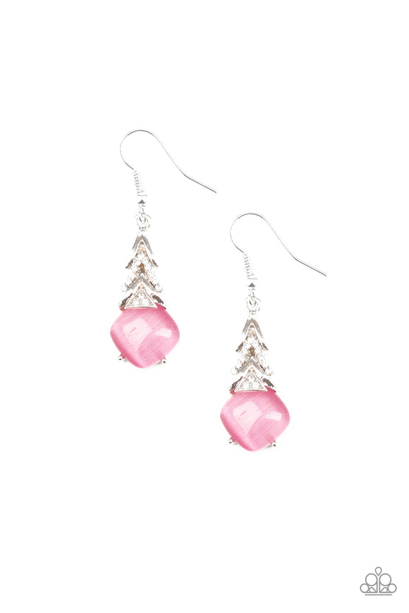 Paparazzi Dreamy Dazzle - Pink - Cat's Eye Moonstone - White Rhinestones - Silver Earrings