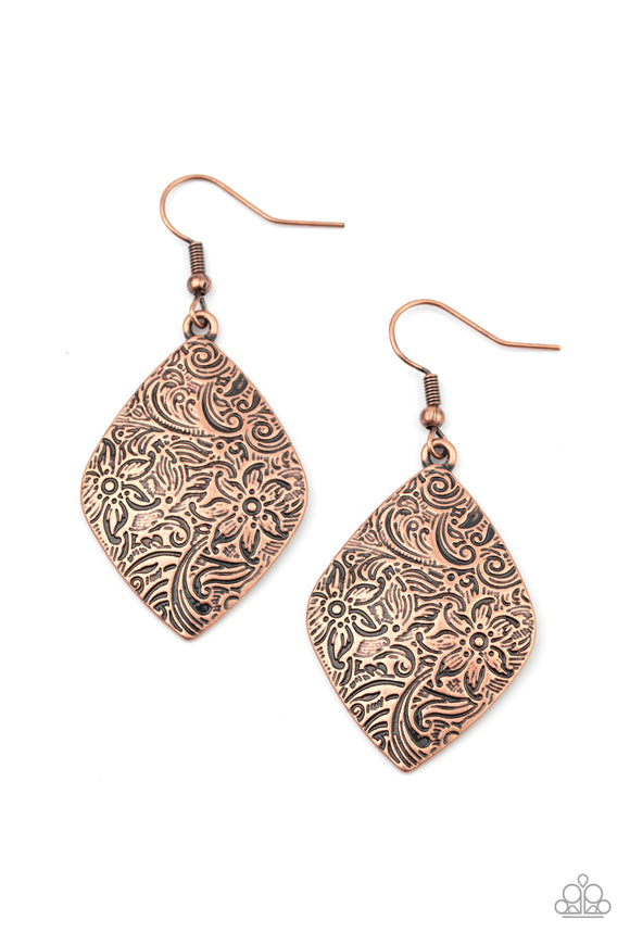 Paparazzi Flauntable Florals - Copper - Embossed Earrings