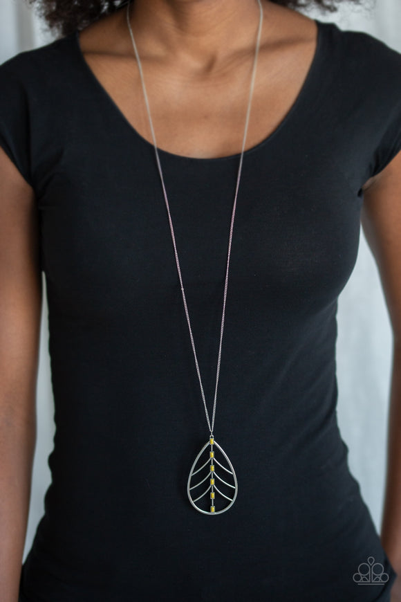 Paparazzi Forest Flair - Yellow Beads - Silver Leaf Pendant - Necklace & Earrings - Lauren's Bling $5.00 Paparazzi Jewelry Boutique