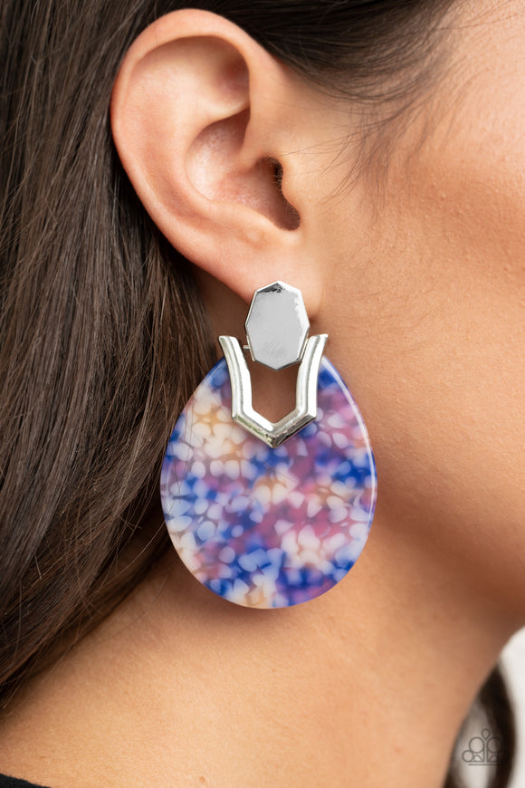 Paparazzi HAUTE Flash - Blue - Watercolor Teardrop Earrings