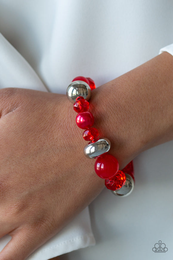 Paparazzi Ice Ice-Breaker - Red - Opaque, Polished, Pearly and Crystal Beads - Bracelet - Lauren's Bling $5.00 Paparazzi Jewelry Boutique
