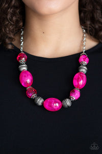 Paparazzi Ice Melt - Pink - Antiqued Silver Beads - Necklace & Earrings - Lauren's Bling $5.00 Paparazzi Jewelry Boutique