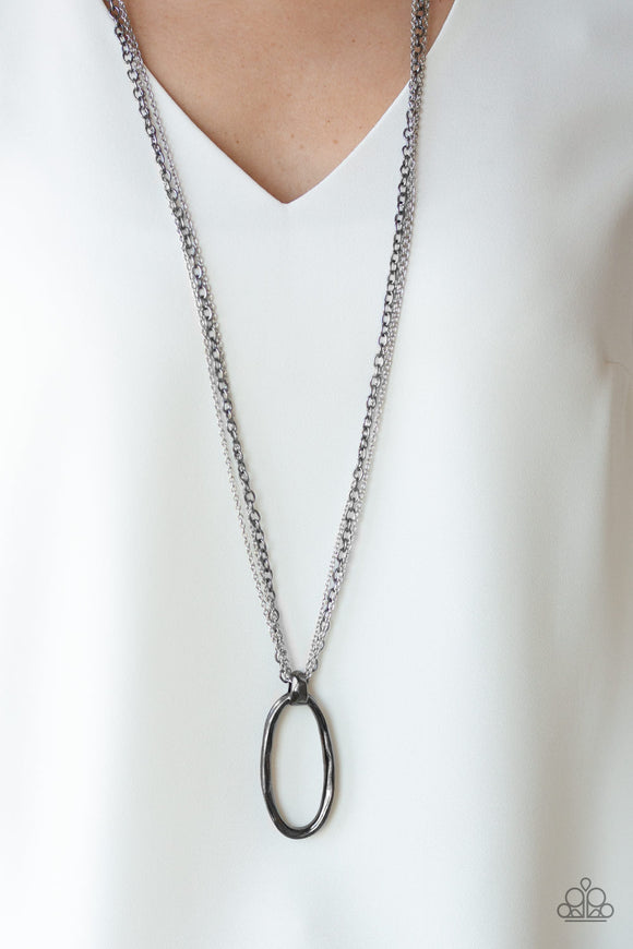 Paparazzi Industrial Confidence - Multi - Bold Gunmetal Pendant - Silver and Gunmetal Chains - Necklace & Earrings - Lauren's Bling $5.00 Paparazzi Jewelry Boutique