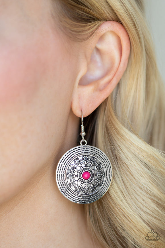 Paparazzi Karma Drama - Pink Beaded Center - Embossed Frilly Vine - Silver Earrings - Lauren's Bling $5.00 Paparazzi Jewelry Boutique