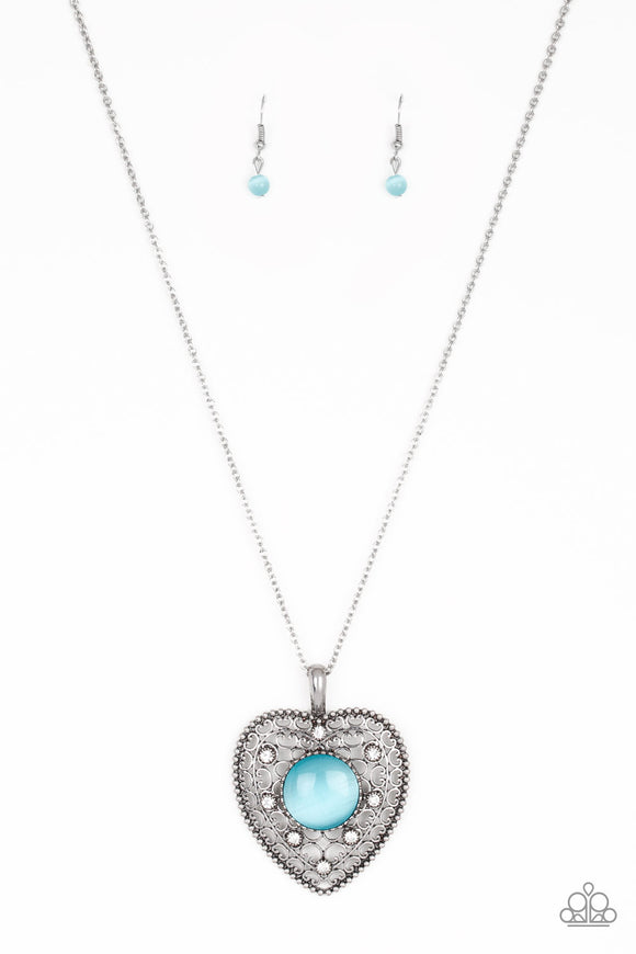 Paparazzi One Heart - Blue Moonstone - White Rhinestones - Necklace and matching Earrings