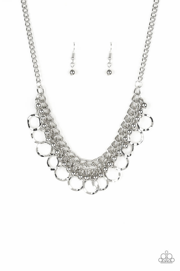 Paparazzi Ring Leader Radiance - Silver - Bold Silver Beads and Hammered Rings Necklace and matching Earrings