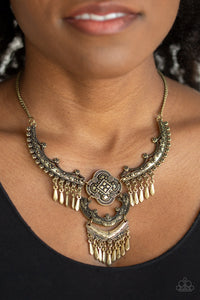 Paparazzi Rogue Vogue - Brass - Beaded Fringe - Statement Necklace & Earrings - Lauren's Bling $5.00 Paparazzi Jewelry Boutique