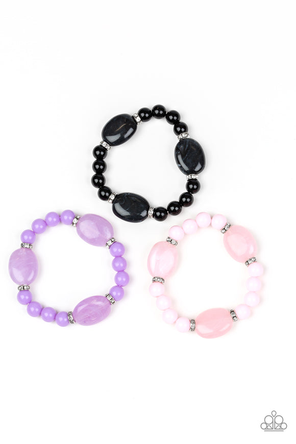 Paparazzi Starlet Shimmer Girls Bracelets - 10 - Purple, Black, Pink and Multi - Stretchy