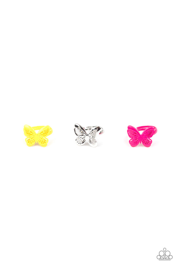 Paparazzi Scarlet Shimmer Girls Rings - 10 - Butterfly's in Blue, Yellow Silver and Pink - Lauren's Bling $5.00 Paparazzi Jewelry Boutique