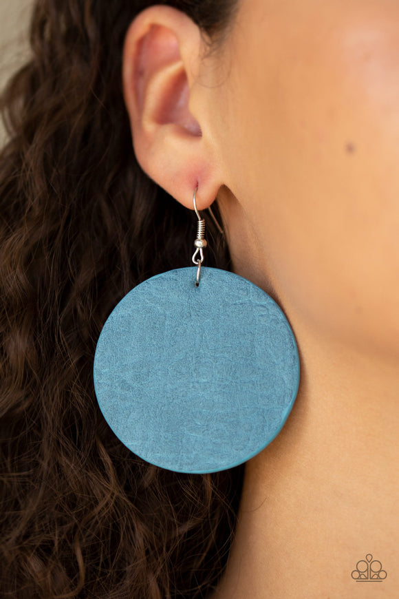 Paparazzi Trend Friends - Blue Stone - Leather Earrings - Lauren's Bling $5.00 Paparazzi Jewelry Boutique
